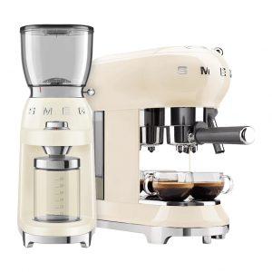 SMEG ECF01CREU Crème + Koffiemolen