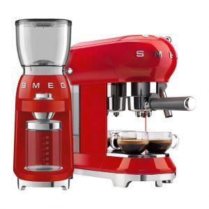 SMEG ECF01RDEU Rood + Koffiemolen